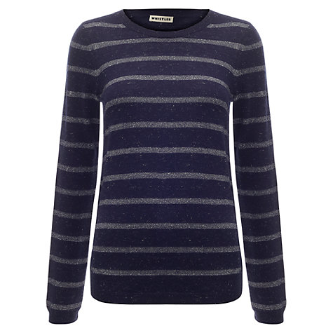 Buy Whistles Annie Sparkle Stripe Jumper, Navy Online at johnlewis.com