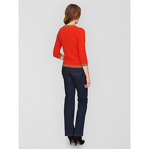 Buy Jaeger Contrast Trim Cardigan, Red Online at johnlewis.com