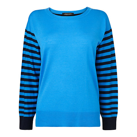 Buy Jaeger Slouchy Stripe Jumper, Bright Blue Online at johnlewis.com