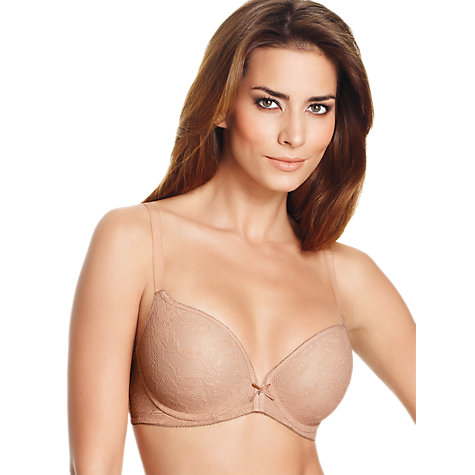 Buy Wacoal Lace Finesse T-Shirt Underwire Bra, Praline Online at johnlewis.com