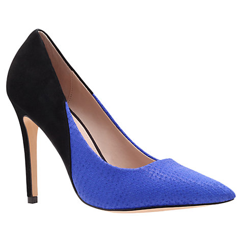 Buy Carvela Ash Suede Mix Pointed Toe Stiletto Heel Court Shoes, Blue / Black Online at johnlewis.com