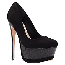 Buy Carvela Glossie Suede Mix High Platform Court Shoes, Black Online at johnlewis.com
