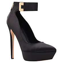 Buy Carvela Gogo Satin Ankle Buckle Stiletto Heel Court Shoes, Black Online at johnlewis.com