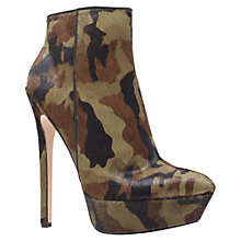 Buy Carvela Geisha High Stiletto Platform Ankle Boots, Green Camo Online at johnlewis.com