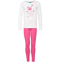 Buy Animal Girls' Snow Bunny Long Sleeve Pyjamas, Pink Online at johnlewis.com
