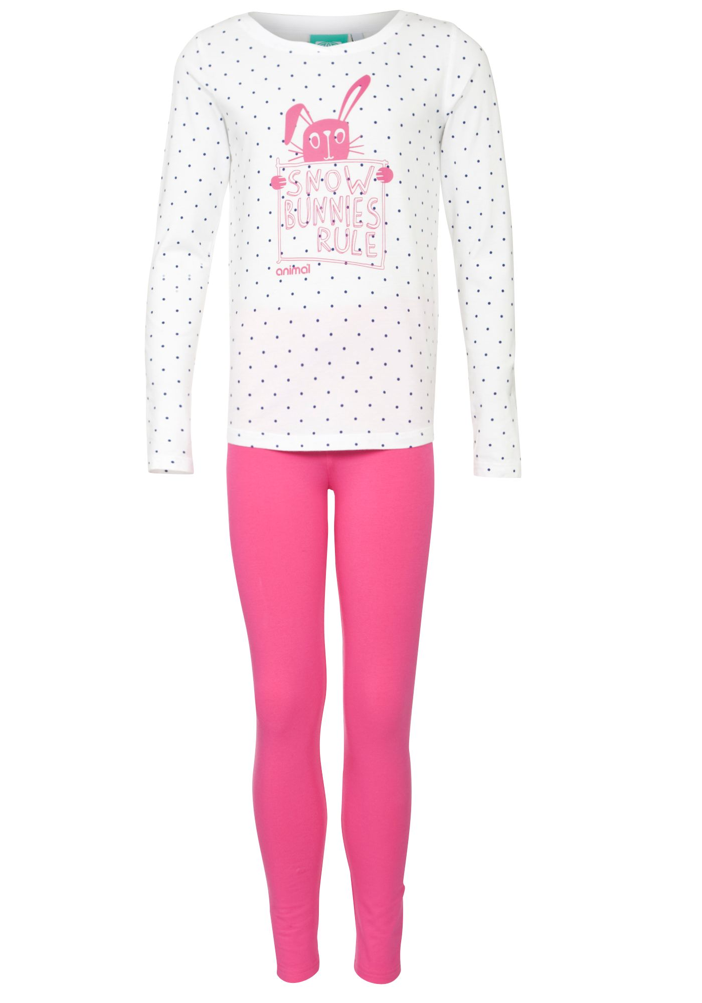 Animal Snow Bunny Long Sleeve Pyjamas, Pink