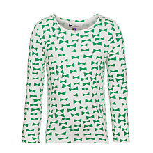 Buy John Lewis Girl Bow Print Long Sleeve Top, Kelly Green Online at johnlewis.com