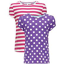 Buy John Lewis Girl Short-Sleeved T-Shirt, Pack of 2, Pink/Purple Online at johnlewis.com