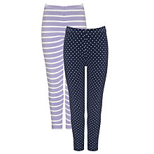 Buy John Lewis Girl Spot and Stripe Leggings, Pack of 2 Online at johnlewis.com