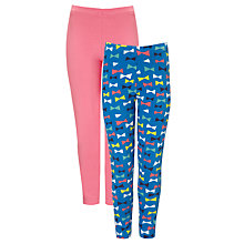 Buy John Lewis Girl Plain & Bow Print Leggings, Pack of 2, Light Cobalt/Neon Online at johnlewis.com