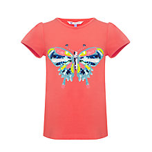 Buy John Lewis Girl Butterfly Graphic T-Shirt, Hot Coral Online at johnlewis.com