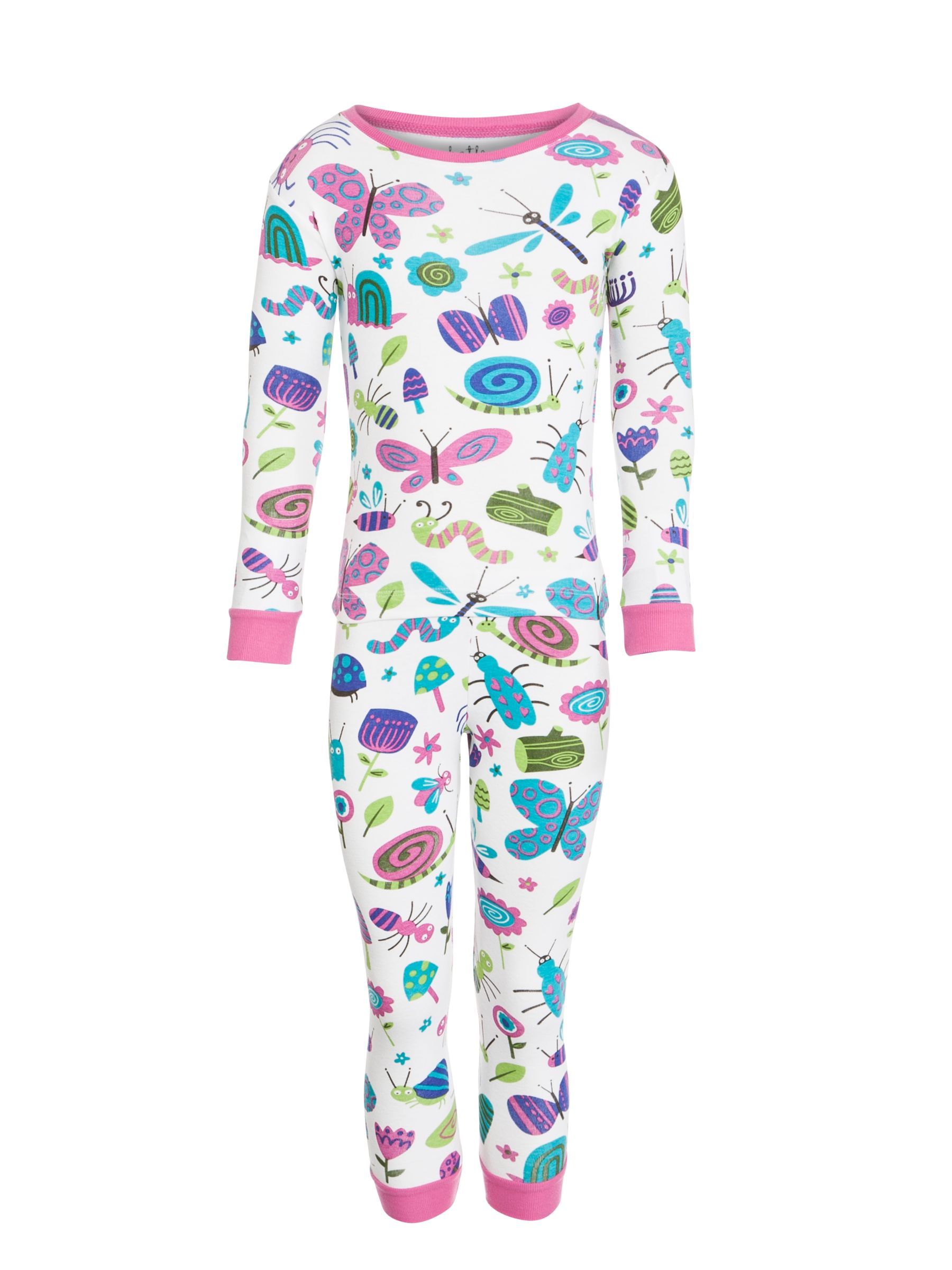Hatley Bugs Print Girls' Pyjamas, White/Multi