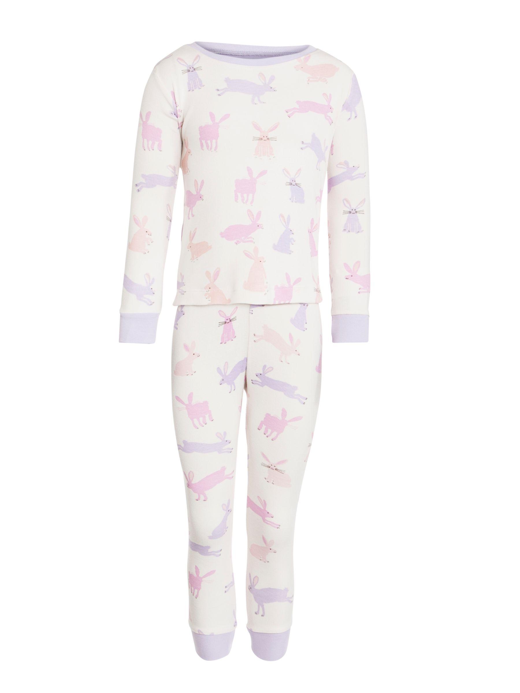 Hatley Soft Bunnies Girls' Pyjamas, White/Multi