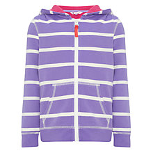 Buy John Lewis Girl Striped Zip-Through Hoodie, Violet Tulip Online at johnlewis.com