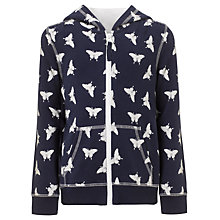 Buy John Lewis Girl Butterfly Print Zip Hoodie, Navy Online at johnlewis.com