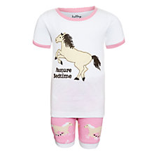 Buy Hatley Girls' Pasture Bedtime Horse Shortie Pyjamas, Pink/White Online at johnlewis.com