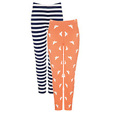 Buy John Lewis Girl Butterfly & Stripe Leggings, Pack of 2, Navy/Hot Coral Online at johnlewis.com