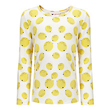 Buy John Lewis Girl Lemon Print Long Sleeve Top, Jaune Online at johnlewis.com
