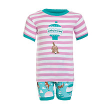 Buy Hatley Girls' Balloon Dog Shortie Pyjamas, Aqua Blue/Pink Online at johnlewis.com