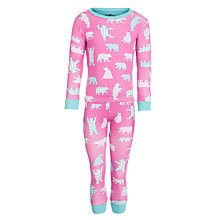 Buy Hatley Girls' Bear Pattern Pyjamas, Pink Online at johnlewis.com