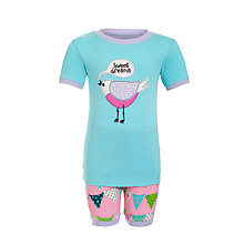 Buy Hatley Girls' Bunting Bird Shortie Pyjamas, Aqua Blue/Pink Online at johnlewis.com