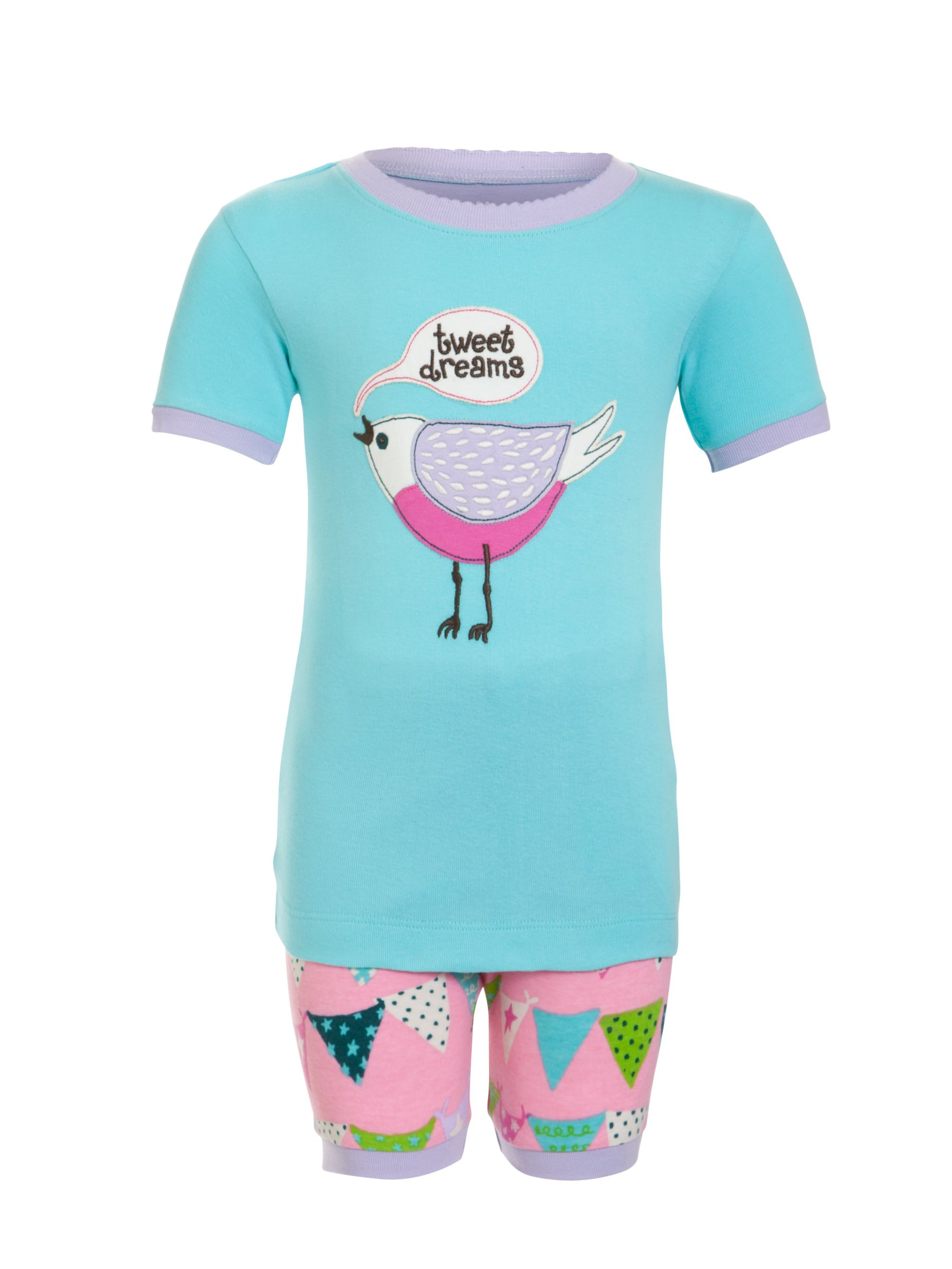 Hatley Girls' Bunting Bird Shortie Pyjamas, Aqua Blue/Pink