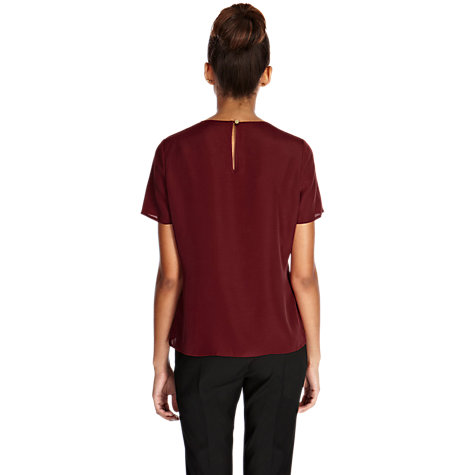 Buy Oasis Lace Front T-Shirt, Red Online at johnlewis.com