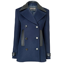 Buy Jaeger Leather Trim Pea Coat, Navy Online at johnlewis.com