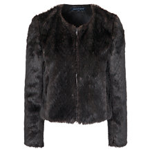 Buy French Connection Salute Faux Fur Jacket, Brown Online at johnlewis.com