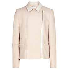 Buy Reiss Alana Fabric Biker Jacket, Peach Online at johnlewis.com