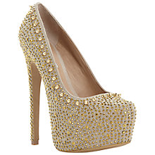 Buy Steve Madden Dipsie Rhinestone and Stud Platform Court Shoes, Gold Online at johnlewis.com
