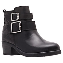 Buy Carvela Sputnik Quilt Buckle Leather Ankle Boots, Black Online at johnlewis.com
