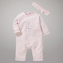 Buy Emile et Rose Baby Cara Bunny Sleepsuit with Headband, Pink Online at johnlewis.com