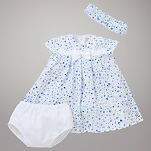Buy Emile et Rose Ceana Lawn Dress, Knickers & Headband with Plush Toy, Blue/White Online at johnlewis.com