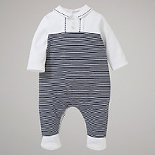 Buy Emile et Rose Baby Colm Collar Sleepsuit with Plush Toy, Navy/White Online at johnlewis.com