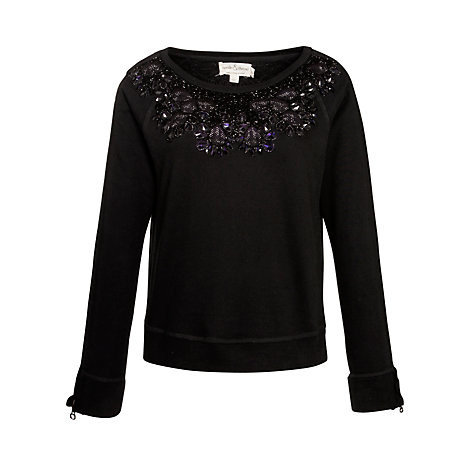 Buy Needle & Thread Glisten Crew Neck Jumper, Black Online at johnlewis.com