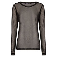 Buy Mango Long Sleeve Mesh T-Shirt, Black Online at johnlewis.com
