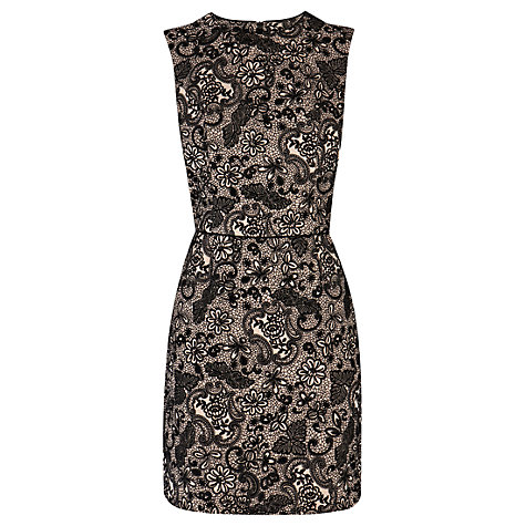 Buy Warehouse Flocked Lace Dress, Cream Online at johnlewis.com