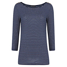 Buy Mango Stripe Print T-Shirt, Navy Online at johnlewis.com