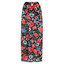Buy Mango Satin Finish Floral Dress, Black Online at johnlewis.com