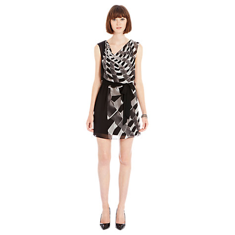 Buy Warehouse Cube Print Zip Dress, Black Online at johnlewis.com