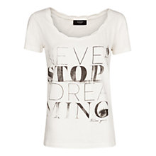 Buy Mango Pleat Detail Print T-Shirt, Natural White Online at johnlewis.com