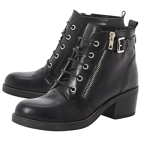 Buy Bertie Perdix Zip and Buckle Leather Ankle Boots, Black Online at johnlewis.com