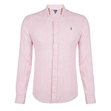 Buy Polo Ralph Lauren Linen Slim Fit Shirt, Pink/White Online at johnlewis.com
