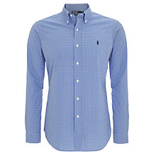 Buy Polo Ralph Lauren Fine Check Long Sleeve Shirt, Blue/White Online at johnlewis.com