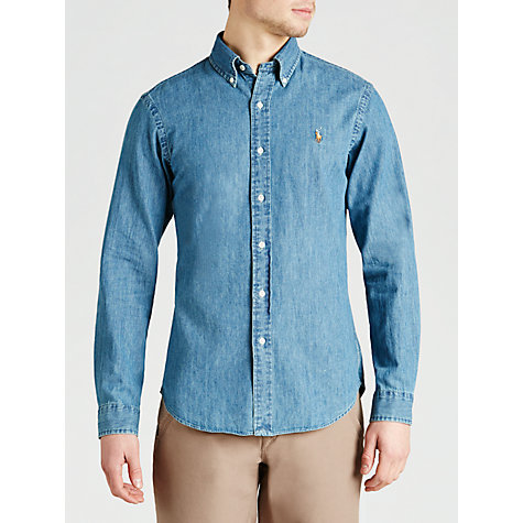 Buy Polo Ralph Lauren Slim Fit Denim Shirt, Dark Wash Online at johnlewis.com