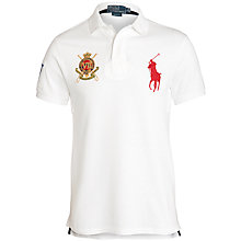 Buy Polo Ralph Lauren Emblem and Logo Slim Fit Polo Shirt, Classic Oxford White Online at johnlewis.com