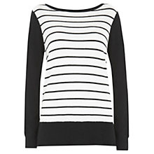 Buy Mint Velvet Stripe Knit Top, Black / White Online at johnlewis.com
