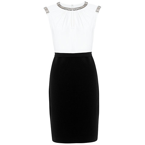 Buy Adrianna Papell Metal Neck Dress, Ivory/Black Online at johnlewis.com