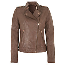 Buy Mint Velvet Zip Detail Leather Biker Jacket, Brown Online at johnlewis.com